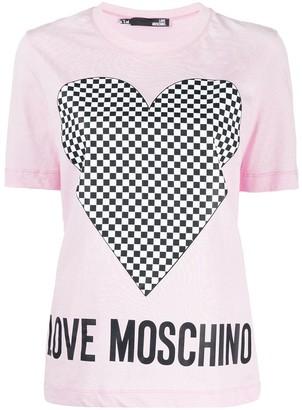Love Moschino short sleeve checkered heart print T-shirt
