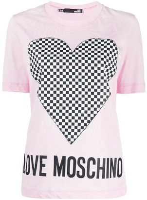 Love Moschino short sleeve checkered heart print T-shirt