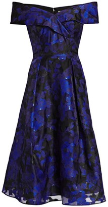 Teri Jon By Rickie Freeman Off-The-Shoulder Floral Jacquard Dress