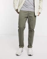 Farah Elm slim fit chino twill trousers in vintage green