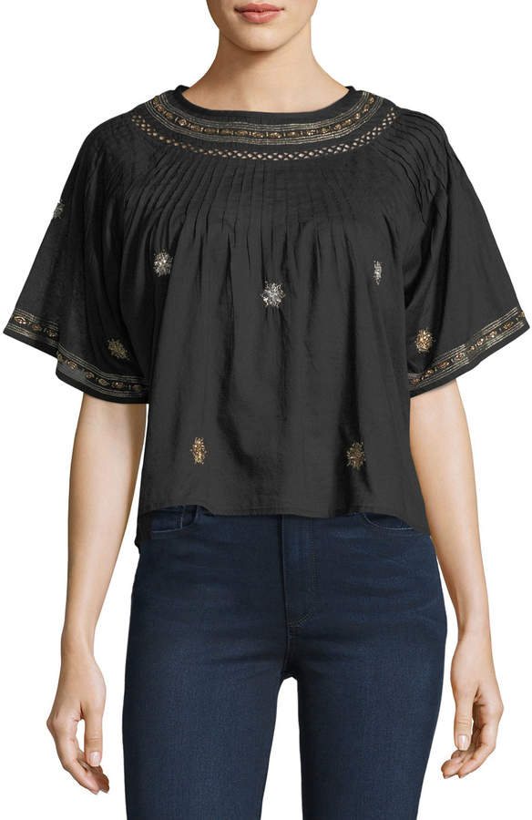 LoveShackFancy Isabella Embroidered Crepe Top