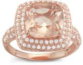 Tiara 4 1/3 CT TW Simulated Morganite Rose Gold-Plated Sterling Silver Halo Ring