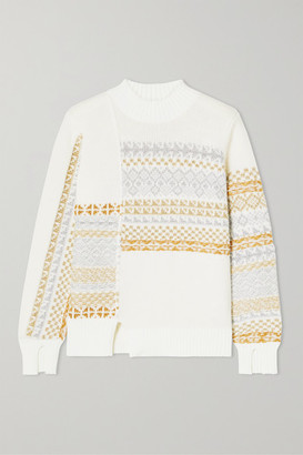 3.1 Phillip Lim Asymmetric Patchwork Metallic Fair Isle Wool-blend Sweater