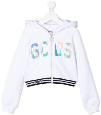 Gcds Kids Holographic-Logo Zip-Up Hoodie