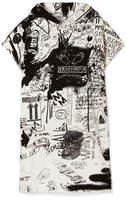 MM6 MAISON MARGIELA Hooded Printed Cotton-terry Mini Dress - White