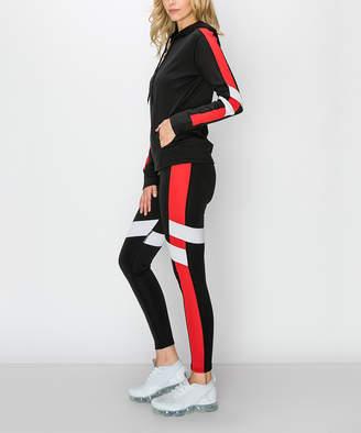 Kimberly C Women's Leggings Black/Red - Black & Red Side-Stripe Active Hoodie & Leggings - Women