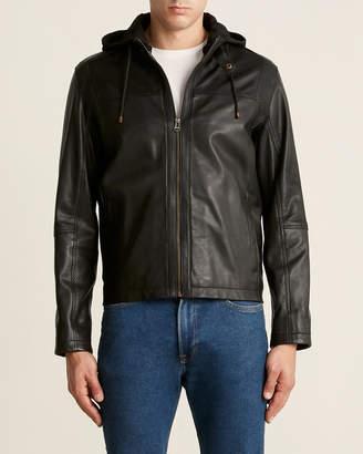 Cole Haan Black Hooded Leather Moto Jacket