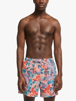 John Lewis & Partners Recycled Poly Parrot Print Swim Shorts, Coral
