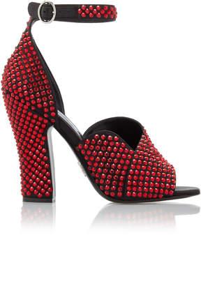 Prada Crystal-Embellished Satin Sandals Size: 41.5