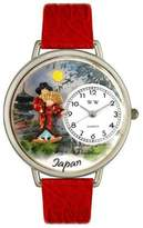 Whimsical Watches Japan Red Leather and Silvertone Unisex Quartz Watch with White Dial Analogue Display and Multicolour Leather Strap U-1420008