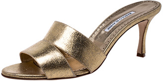 Manolo Blahnik Metallic Gold Leather Open Sandals Size 42