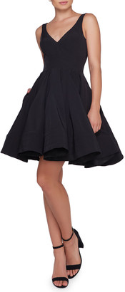 Mac Duggal Sleeveless V-Neck Fit-and-Flare Dress w/ Dramatic Skirt