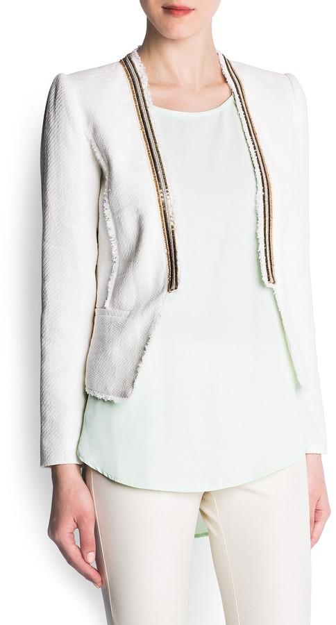 MANGO Metallic trimming cropped jacket