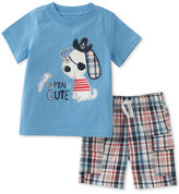Kids Headquarters 2-Pc. Graphic-Print T-Shirt & Plaid Shorts Cotton Set, Baby Boys (0-24 months)