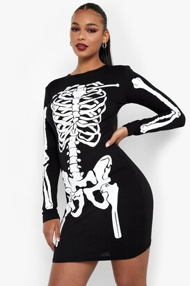 boohoo Halloween Skeleton Bodycon Dress