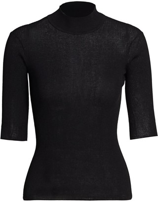 ATM Anthony Thomas Melillo Ribbed Mock-Neck Sweater