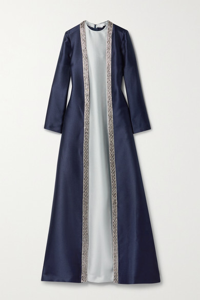 Thumbnail for your product : Reem Acra Embellished Layered Mikado-pique Gown - Navy