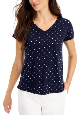 Style&Co. Style & Co Petite Dot-Print Cotton T-Shirt, Created for Macy's