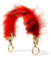 Prada Gold-tone And Shearling Bag Strap - Red