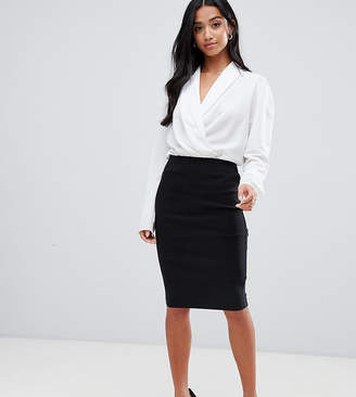 Asos DESIGN Petite high waisted pencil skirt-Black