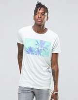 Pull&Bear T-Shirt With Take Me Back Palm Tree Print In Blue