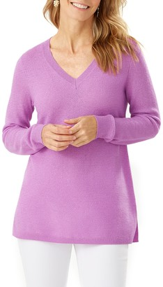 Tommy Bahama Serena V- Neck Wool Blend Tunic Sweater