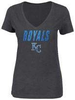 MLB Kansas City Royals Women's V-Neck Heather Gray Glitter Print T-Shirt