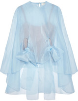 DELPOZO Silk-organza Top - Light blue