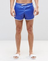 Asos Runner Swim Shorts In Wet Look Blue