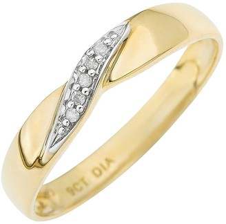 Love Diamond 9-Carat Yellow Gold Twist Diamond Set Wedding Band 3 mm