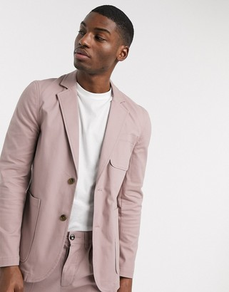 ASOS DESIGN co ord slim casual cotton blazer with square pockets in warm pink