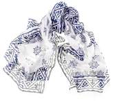 Black Navy and White Hand Printed Cotton Scarf