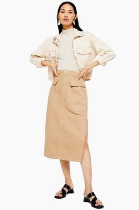 Topshop Womens Sand Denim Midi Skirt With Flap Pockets - Sand