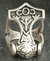 Nautilus Silvertone Thor's Hammer Adjustable Ring