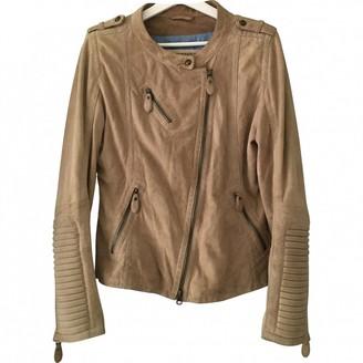 Drykorn Beige Suede Leather Jacket for Women