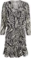 Veronica Beard Kiran Silk Animal Print Mini Dress