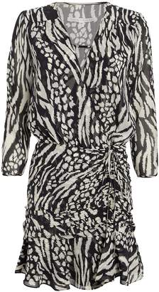 Veronica Beard Kiran Silk Animal Print Mini Dress