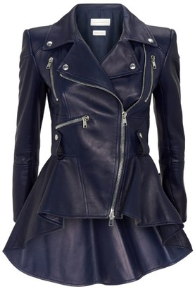 Alexander McQueen Leather Peplumbiker Jacket