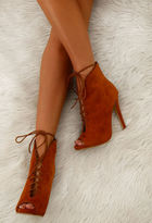Pink Boutique Lady Tan Lace Up Shoe Boots