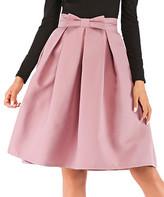 Adele Berto Women's Casual Skirts Peach - Peach Bow-Detail Pleated A-Line Skirt - Women