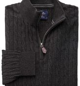 Charles Tyrwhitt Charcoal cotton cashmere cable zip neck jumper