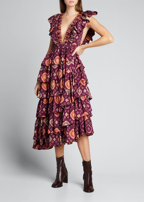 Ulla Johnson Viola Shibori Plunge-Neck Ruffle Dress