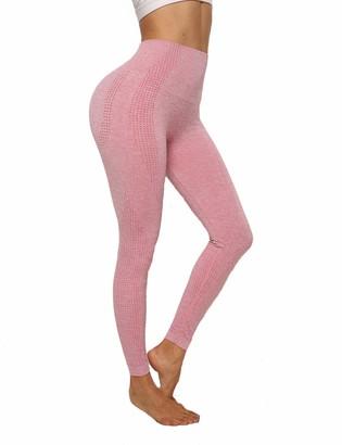 INSTINNCT Women's High Waist Stretchy Sports Leggings Seamless Dotted Contouring Push Up Tummy Control Workout Fitness Gym Leggings Grey Pink