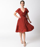 Unique Vintage 1940s Red & Ivory Polka Dot Dotty Wrap Dress