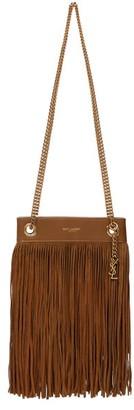 Saint Laurent Suede-fringed Leather Shoulder Bag - Brown