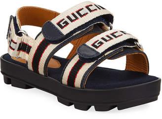 Gucci Web Logo Grip-Strap Sandals, Toddler/Kids