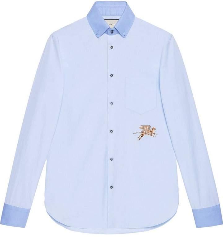 Gucci Tiger fil coupé cotton shirt