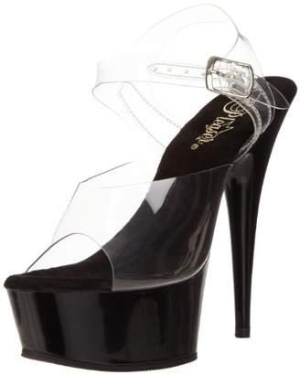 Pleaser USA Delight-608, Women's Open Toe Sandals, Transparent (), (37 EU)