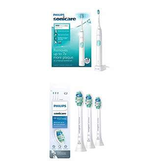 Sonicare Philips ProtectiveClean 4100 Electric Rechargeable Toothbrush with Genuine Philips Optimal Plaque Control replacement toothbrush heads