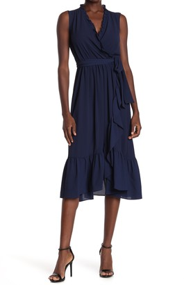 London Times Crepe Wrap Ruffle Dress